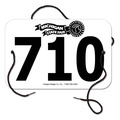 Custom Large Rectangular Fair, Festival & 4-H Exhibitor Number w/ String