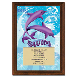 Dolphins Swim Award Plaque - Cherry Finish