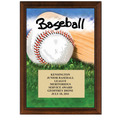 "5"" x 7"" Full Color Baseball Plaque - Cherry FInish"