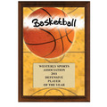 5&quot; x 7&quot; Full Color Basketball Plaque - Cherry Finish