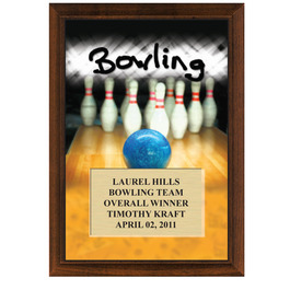 "5"" x 7"" Full Color Bowling Plaque - Cherry Finish"