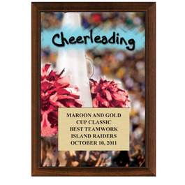 5&quot; x 7&quot; Full Color Cheerleading Plaque - Cherry Finish