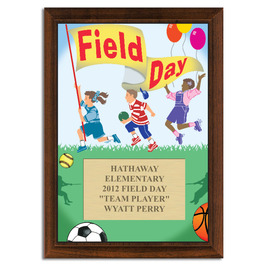 Full Color Field Day Plaque - Cherry Finish