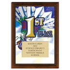Full Color First Place Plaque - Cherry Finish