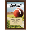 "5"" x 7"" Full Color Football Plaque - Cherry Finish"