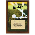 "5"" x 7"" Full Color Golf Plaque - Cherry Finish"