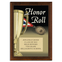 Full Color Honor Roll Plaque - Cherry Finish