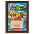 Full Color Perfect Attendance Plaque - Cherry Finish