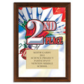 Full Color Second Place Plaque - Cherry Finish