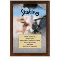 "5"" x 7"" Full Color Skating Plaque - Cherry Finish"