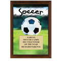 5&quot; x 7&quot; Full Color Soccer Plaque - Cherry Finish