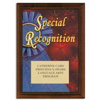 Full Color Special Recognition Plaque - Cherry Finish