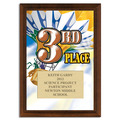 Full Color Third Place Plaque Cherry Finished