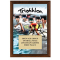 "5"" x 7"" Full Color Triathlon Plaque - Cherry Finish"
