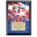 "5"" x 7"" Full Color All Star Black Wood Plaque"