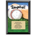 5&quot; x 7&quot; Full Color Baseball Black Wood Plaque