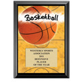 "5"" x 7"" Full Color Basketball Black Wood Plaque"