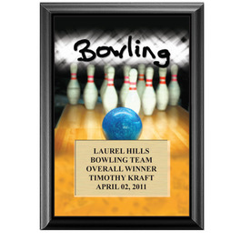 "5"" x 7"" Full Color Bowling Black Wood Plaque"
