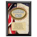 Full Color Citizenship Award Plaque - Black