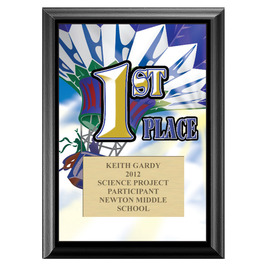 Full Color First Place Plaque - Black