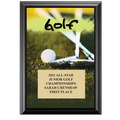 "5"" x 7"" Full Color Golf Black Wood  Plaque"