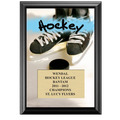 "5"" x 7"" Full Color Hockey Black Wood Plaque"