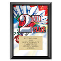 Full Color Second Place Plaque - Black