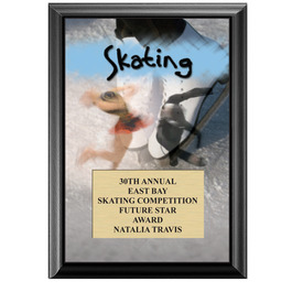 "5"" x 7"" Full Color Skating Black Wood Plaque"