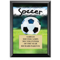 5&quot; x 7&quot; Full Color Soccer Black Wood Plaque