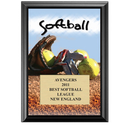 "5"" x 7"" Full Color Softball Black Wood Sports Plaque"