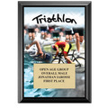 5&quot; x 7&quot; Full Color Triathlon Black Wood Plaque