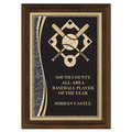 "5"" x 7"" Brass Designer Baseball Plaque"