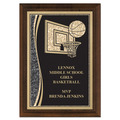 "5"" x 7"" Brass Designer Basketball Plaque"
