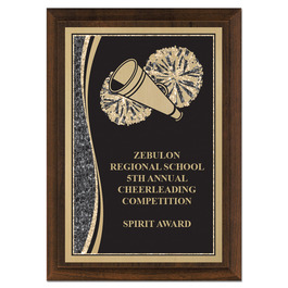 "5"" x 7"" Brass Designer Cheerleading Plaque"