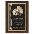 "5"" x 7"" Brass Designer Football Plaque"
