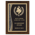 "5"" x 7"" Brass Designer Victory Torch Plaque"