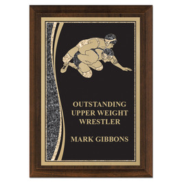 5&quot; x 7&quot; Brass Designer Wrestling Plaque