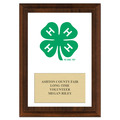 4-H Clover Full Color Fair Award Plaque - Cherry Finish