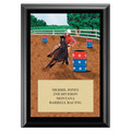 Barrel Racing Full Color Fair, Festival &amp; 4-H Award Plaque - Black Finish