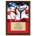 "5"" x 7"" Full Color Gym Flag Plaque - Cherry Finished"