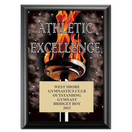 "5"" x 7"" Full Color Athletic Excellence Plaque - Black"
