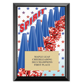 "5"" x 7"" Full Color Cheer Spirit Plaque - Black"