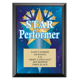 "5"" x 7"" Full Color Star Performer Plaque - Black"