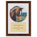 Dressage Horse Head Full Color Plaque - Cherry Finish