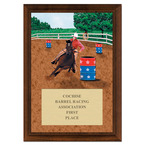 Barrel Racing Full Color Plaque - Cherry Finish