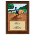 Reining Full Color Horse Show Award Plaque - Cherry Finish