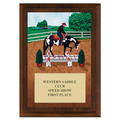 Western Trail Full Color Horse Show Award Plaque - Cherry Finish