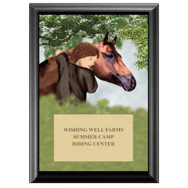 Horse & Child Full Color Plaque - Black