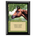 Horse Head Full Color Horse Show Award Plaque - Black