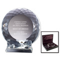 Optical Crystal Dog Show Award Plate w/ Stand